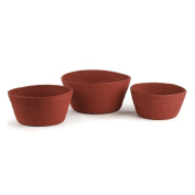 JUTE MIA BASKETS, Set of 3, Red