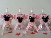 12 Minnie Mouse Pink Fillable Bottles Baby Shower Favours Prizes Game Girl Décor