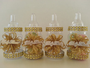 12 Gold Fillable Bottles for Baby Shower Favours Prizes or Games Girl Decorations