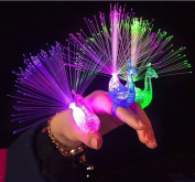 Fashionclubs 4pcs/set Peacock Finger Led Light Ring Party Novelty Cheering Toys For Kids,Battery Powered