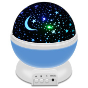 Airsspu Night Light LED Moon and Star Romantic Rotating Sky & Cosmos Cover Projector Night Lighting for Children Adults Bedroom, Mood/Decorative Light, Baby Nursery Light, Living Room Gift