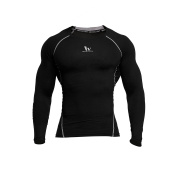 Fringoo Men's Long Sleeve Compression Top Workout Thermal T-Shirt Skin Fit Base Layer Fitness Training Under Shirt Crew Neck