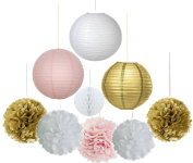 Fascola Pack of 11 8''(20cm) Gold Pink White Paper Crafts Tissue Paper Honeycomb Balls Lanterns Paper Pom Poms Birthday Wedding Party Decoration