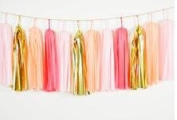 20pcs Tissue Paper Tassel Garland Coral ,Light Pink,Peach,Foil Gold Mylar Mixed Colours Bunting for Baby Shower, Bridal Shower, Birthday Party, Nursery Decoration Pom Poms by Fascola
