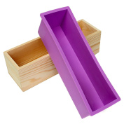 Ogrmar Flexible Rectangular Soap Silicone Mould With Wood Box DIY Tool For Soap Cake Making 1240ml
