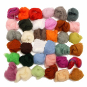 TOPCHANCES Set of 36 Colours Wool Fibre Wool Yarn Roving for Needle Felting Hand Spinning DIY Craft Materials