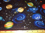 Black OUTER SPACE Galaxy Planets Solar System 1 Fat Quarter 46cm x 50cm Cotton Fabric Great for Planners Journals Ephemera Crafts Quilts