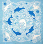 Furoshiki Wrapping Cloth 'Dolphins, Japanese Waves and Sea Shells' Motif Japanese Fabric 50cm