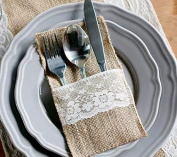 12pcs Vintage Shabby Chic Jute Burlap Lace Tableware Pouch Packaging Fork & Knife Burlap Holder Cutlery Pocket 10cm x 20cm