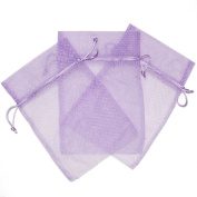 30 Cute Polka Dot Party Favour Gift Bags Organza Fabric Drawstring Bags - Lavander Purple