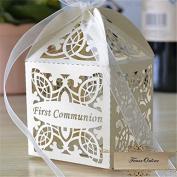 First Communion Laser cut Favour Box Favour gift box/religious gift box 8.9cm x 6.4cm x 6.4cm - 10 Boxes