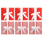 Give-A-Gift White & Red Herringbone, Red Solid with White Bows