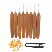 "BamboomN Brand - 5.5"" Bamboo Crochet Hooks Handle - 8 Sizes, 1mm - 2.75mm - Carbonised Brown - Comes w/ Stitch Markers & Snips"