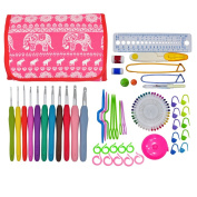 OldShark 90 Pieces Crochet Hooks Upgraded Yarn Knitting Needles Sewing Tools Full Set Knit Gauge Scissors Stitch Holders