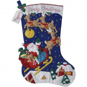 Christmas Night Jumbo Stocking Felt Applique Kit-70cm Long
