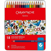 Caran d'Ache 1290.318 18 Water-soluble Colour Pencils in Case