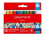Caran d'Ache 7502.710 School Line Water Soluble Crayons with 10 Colours