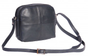 Womens Leather Shoulder Bag Multi Zip top Compartments Navy Cross body bag A939