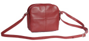 Womens Leather Shoulder Bag Multi Zip top Compartments Red Cross body bag A939