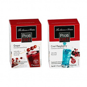 ProtiDiet Cool Raspberry Concentrated Drink Mix (7 Pouches) & Grape Concentrated Drink Mix