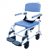 Healthline Ezee Life Aluminium Shower Commode, Self-Propelled, 46cm Seat