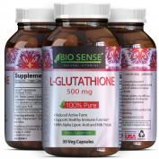 Max Potency Glutathione –Skin Whitening Pills + Milk Thistle Extract + Alpha Lipoic Acid – 500mg Pure Reduced Anti Ageing Antioxidant – Face Lightening Supplement – for Women + Men – Biosense