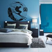 Wall Decal Sticker Bedroom downhill ski winter sport snow mountains boys teenager room 227b