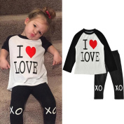 Yoyorule Baby Girls Outfit Clothes Print Long Sleeve T-shirt +Long Pants