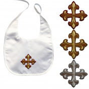 Baby Toddler unisex Christening Baptism White Bib Gold Silver Embroidery Cross