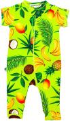 "Inchworm Alley - ""Jungle Salad Tropical Fruit"" Unisex, 100% Organic Cotton Romper Onesie"