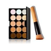 Bolayu 15 Colours Makeup Concealer Contour Palette + Makeup Brush