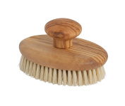 Bürstenhaus Redecker Tampico Fibre Massage Brush with Oiled Olive Wood Handle and Knob, 12cm by 7.9cm