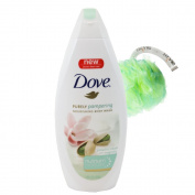 "Dove Purely Pampering Nourishing Body Wash 470mls with 5"" Exfoliating Mesh Pouffe Shower Sponge by Draizee"