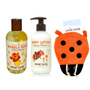 Little Twig Happy Tangerine Bubble Bath, Happy Tangerine Lotion & Lady Bug Bath Mitt Bundle, 500ml Bubble Bath, 250ml Lotion