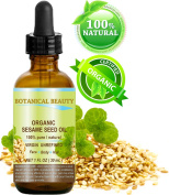 ORGANIC SESAME OIL, 100% Pure / Undiluted / Cold Pressed. 1 oz - 30 ml. For Face, Hair and Body.