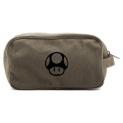 Mario Brothers 1up Mushroom Dual Two Compartment Travel Toiletry Dopp Kit Bag