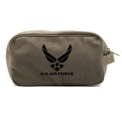 US Air Force Canvas Dual Two Compartment Travel Toiletry Dopp Kit Bag