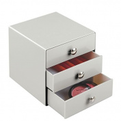 mDesign 3 Drawer Storage Organiser for Cosmetics, Makeup, Beauty Products and Office Supplies - Light Grey