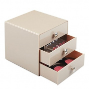 mDesign 3 Drawer Storage Organiser for Cosmetics, Makeup, Beauty Products and Office Supplies - Taupe
