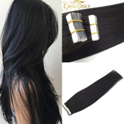 Googoo Straight Glue in Premium Remy Natural Black Colour Seamless Tape on Human Hair Extensions for Women Fashion Beuty Hair