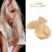 Googoo 46cm 50g/20pcs Seamless Skin Weft Tape In Hair Extensions Bleach Blonde Colour #613 100% Straight Real Remy Human Hair