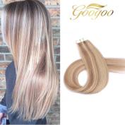 Googoo 20pcs Ash Blonde mixed Bleached Blonde Seamless Tape in Hair Extensions Highlighted Blonde 100% Prenium Human Hair 50g 60cm