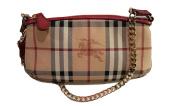Burberry Haymarket Nova Cheque Clara Leather Wristlet
