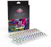 Acrylic Paint Set 24 Colours Professional Artist Grade Pigment Rich Art Painting Kit