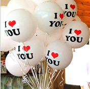 PETMALL 20pcs 30cm Pearl Latex Balloon I LOVE YOU Balloons Christmas gifts Wedding Decorations White OFFICE-726