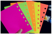 Pack of 50 PCS Multicolor Adhesive Embossed Paper,Colour Fluorescent Scrapbooking Craft Sticker Punch Stamping DIY Gift Decor Card by Fascola