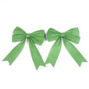PIXNOR Jute Burlap Bow Car Bow Gift Bow for DIY Craft Decoration Green Pack of 2