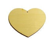 CraftbuddyUS 10pcs 100mm Plain Wooden Heart with Hole Card Toppers Craft Shabby Chic