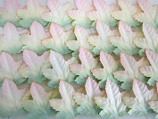 ICRAFY Maple Leaf Pink Green Flower Mulberry paper with wire stem 50 Pcs. Size 10cm