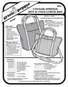 Cougar Springs Hot & Cold Lunch Bag Pack Tote #561 Sewing Pattern